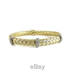 Roberto Coin 18k Yellow Gold. 48tcw Silk Weave 3 Diamond Station Bracelet
