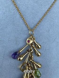 Roberto Coin 18k Yellow Gold Amethyst Gemstone Necklace Pendant 18 Adjustable
