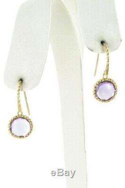 Roberto Coin 18k Yellow Gold Amethyst Ipanema Round Drop Earrings Retail $1600