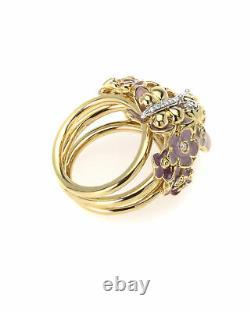 Roberto Coin 18k Yellow Gold And Enamel Diamond Ring Sz 6.5 2282554AJ65X