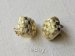 Roberto Coin 18k Yellow Gold Appassionata Woven Earrings 11.7g Omega Back