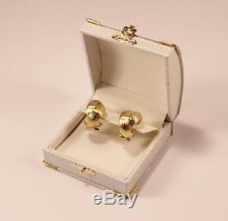 Roberto Coin 18k Yellow Gold Crossover Post With Omega Lock Hoop Earrings
