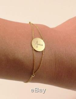 Roberto Coin 18k Yellow Gold Diamond Cross Disc Chain Bracelet