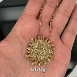 Roberto Coin 18k Yellow Gold Diamond Large Sunflower Pendant New $8500