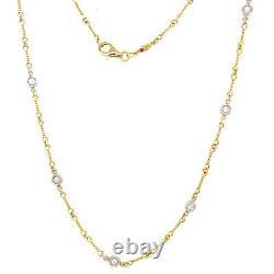 Roberto Coin 18k Yellow Gold Dog-Bone 7 Station Diamond Necklace 15.5
