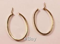 Roberto Coin 18k Yellow Gold High Oval Shape 1.77 Inch Drop Hoop Earrings