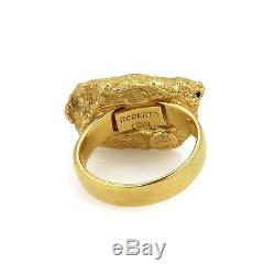 Roberto Coin 18k Yellow Gold Textured Nugget Ring Size 7.5