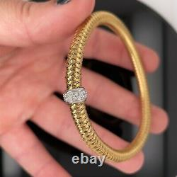 Roberto Coin 18k Yellow Gold With Diamond Station Flex Bracelet $2450