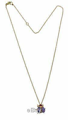 Roberto Coin 18k rose gold lilac enamel Ladybug necklace