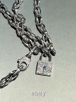 Roberto Coin 18k white gold and Diamond lock pendant and clasp Necklace