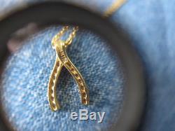 Roberto Coin 18k yellow Gold Diamond Wishbone Pendant Necklace 0.09tcw 16 Chain