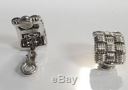 Roberto Coin 18kt White Gold Appassionata 3 row Woven Earrings