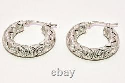 Roberto Coin 1 Woven Hoop Earrings in 18K White Gold