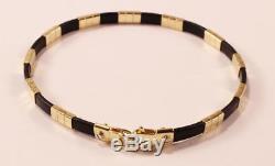 Roberto Coin Africa 18k Yellow Gold Blk Rubber 11-statioin Unisex Bracelet