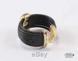 Roberto Coin Africa 18k Yellow Gold Cognac Diamond Black Rubber Cuff Ring