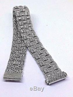 Roberto Coin Appassionata 18k White Gold 3 Row Bracelet With Diamond Clasp