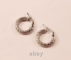 Roberto Coin Appassionata 18k White Gold Braided Round Hoop Earrings, 16.25mm