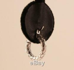 Roberto Coin Appassionata 18k White Gold Braided Round Hoop Earrings, 16.28mm