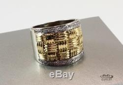 Roberto Coin Appassionata 18k White/yellow Gold Diamond Thick Band Ring Size 8