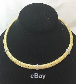 Roberto Coin Appassionata 18k Yellow Gold Woven Necklace Italy 16 ½