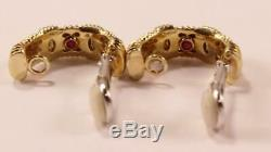 Roberto Coin Appassionata 18k Yellow White Gold Shrimp Hoop Clip On Earrings