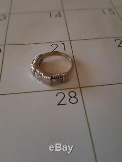 Roberto Coin Appassionata Basket Weave White gold and Diamond ring Size 5.25-5