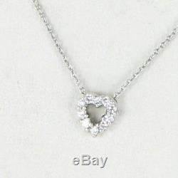 Roberto Coin Baby Heart 18k White Gold 0.11cts Diamond 18 Chain Necklace New