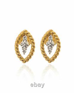 Roberto Coin Barocco 18k Yellow Gold Diamond 0.28ct Ruby Earrings 9991012AJERX