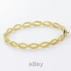 Roberto Coin Barocco Braided Twist Bangle Bracelet 18k Yellow Gold New $2240