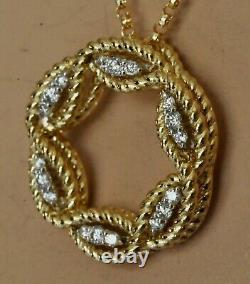 Roberto Coin Barocco Diamond Circle Necklace 18K Yellow Gold $1750 New Sale