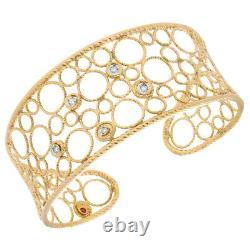 Roberto Coin Bollicine 18k Yellow Gold Diamonds Cuff Bracelet 6.5