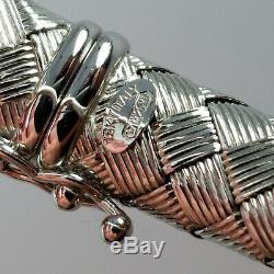 Roberto Coin Braided, Woven Bracelet, 18k White Gold, Sapphire, Italy