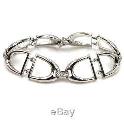 Roberto Coin Cheval Horsebit Diamond Link 18 Karat White Gold Bracelet