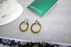 Roberto Coin Chic & Shine Diamond Open Circle Drop 18k Yellow Gold Earrings