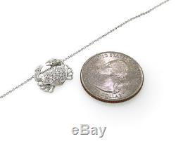Roberto Coin Crab Design Pendant on Chain, 18K White Gold with Pave Diamonds