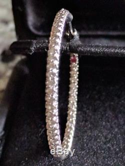 Roberto Coin Diamond 18K White Gold Inside-Out Hoop Earrings