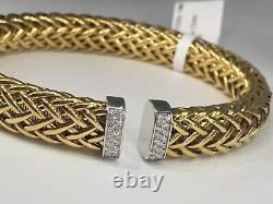 Roberto Coin Diamond 18k Yellow Gold Woven Cuff Bracelet