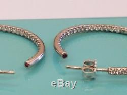 Roberto Coin Diamond Earrings Inside Out Hoops 0.98cts 18k White Gold 30MM