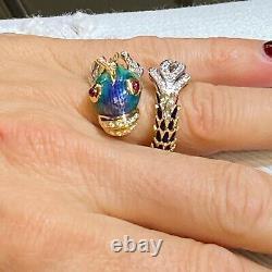 Roberto Coin Diamond Enamel Animalier Nemo Coil Ring 18 Karat Yellow Gold