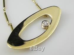 Roberto Coin Diamond Necklace 18K Yellow Gold Oval Ring 15.5 Lobster Claw
