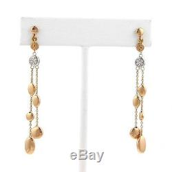 Roberto Coin Diamond Pebble 18k Rose Gold Dangle Earrings