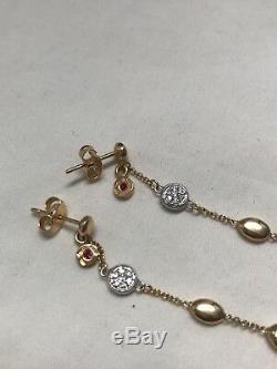 Roberto Coin Diamond Pebble 18k Yellow Gold Dangle Earrings