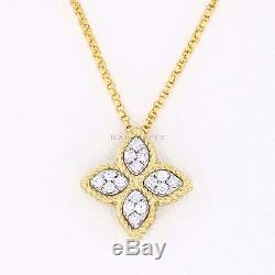 Roberto Coin Diamond Princess Flower Pendant & Chain, 18K Yellow Gold, 16-18