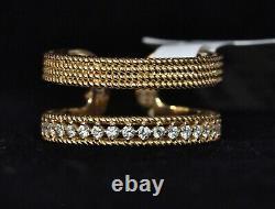 Roberto Coin Diamond Ring Sz 6.5 Yellow Gold Double Symphony New $2850 Sale