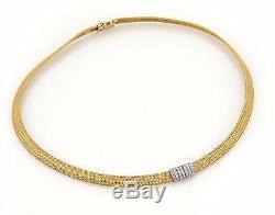 Roberto Coin Diamonds 18k Two Tone Gold Collar Necklace 16 Long