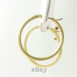Roberto Coin Earrings Twist Hoops Textured Exposed Ruby 18k Yellow Gold NEW $940