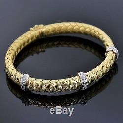 Roberto Coin Estate Jewelry 18K Yellow Gold Diamond Woven Silk Bangle Bracelet