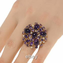 Roberto Coin Fantasia 18k Yellow Gold Diamond 0.54ct & Amethyst Ring Sz 6.5