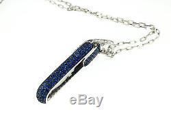 Roberto Coin Fantasia Blue Sapphire & Diamond Pendant Necklace 18 K White Gold