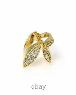 Roberto Coin Garden Princess 18k Yellow Gold Diamond Ring Sz 6.5 7771954AY65X